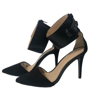 Zara Leather Ankle Strap Suede Heels in Black